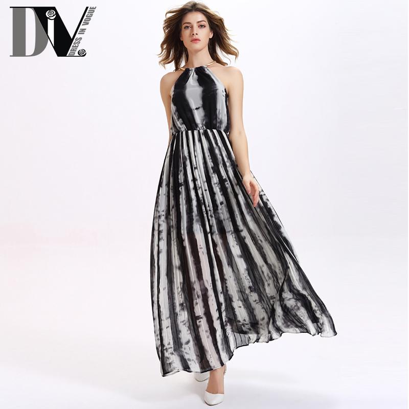 DIV Halter Printed Backless Chiffon Dresses Women Striped Off The Shoulder Long Bohemian Vestidos Sleeveless Empire Maxi Dresses(China (Mainland))