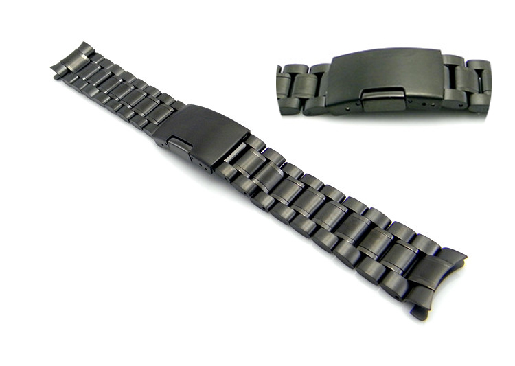 2015 NEW 22mm Stainless Steel Bracelet Black Watch Band Pebble Strap Solid Watchbands #0H22 - get value for money store