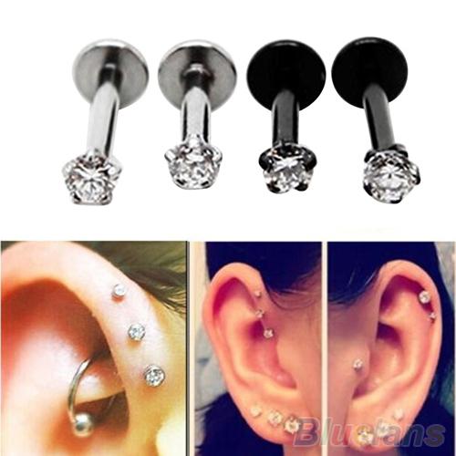 2Pcs Cubic Zirconia Tragus Lip Ring Monroe Ear Cartilage Earring Tongue Studs 2MDE 2O93(China (Mainland))