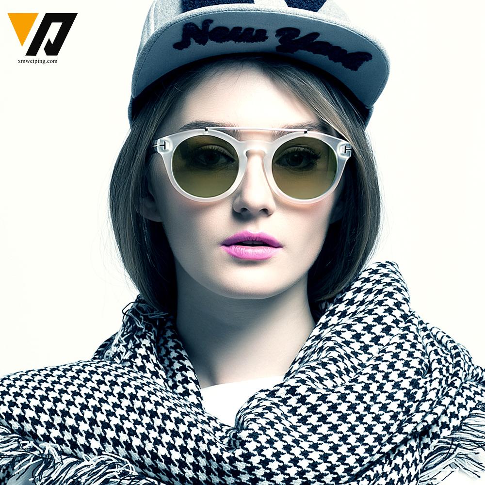 Women Summer Outdoor Retro Sunglasses Oculos De Sol UV400 Protection T Round Half Metal Aviator Glasses(China (Mainland))