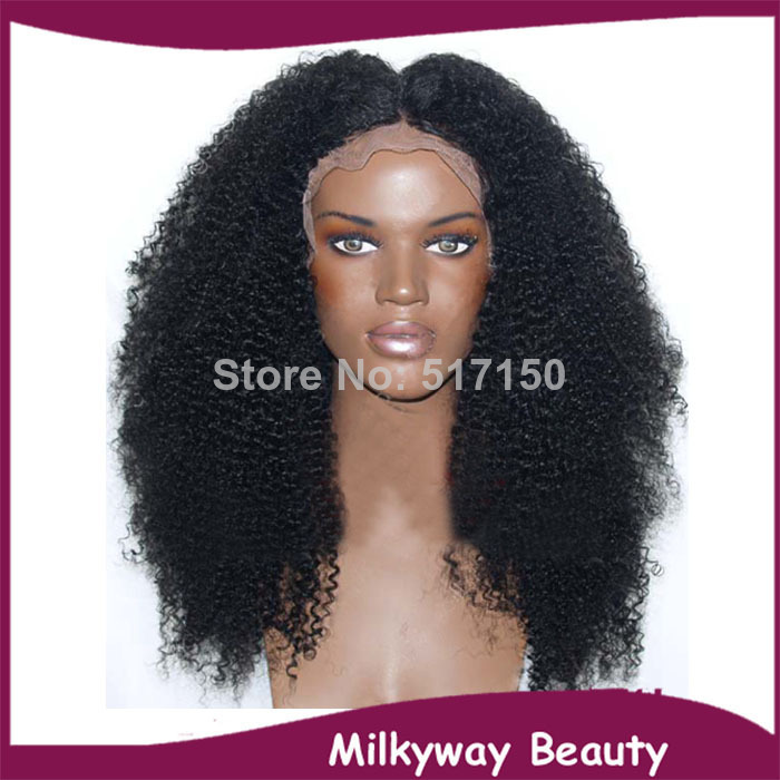 Free shipping off black afro kinky curly synthetic lace front wig heat resistant natural black curly wig for black women