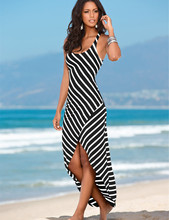 Women Black White Striped Boho Maxi Dresses 2016 Summer Style Sleeveless Beach Sexy Ladies Casual Long Dress Vestidos Plus Size(China (Mainland))
