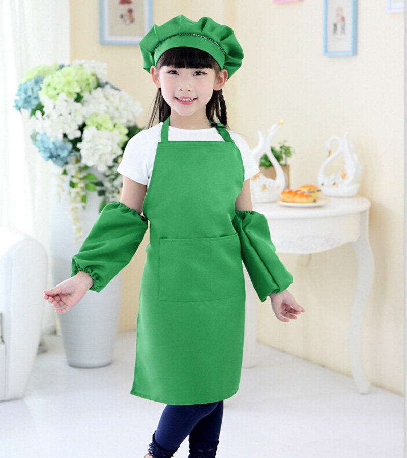1 pc Children Apron Kit Bowknots Apron Big Pocket Design 6 Colors Kitchen Cooking Apron(China (Mainland))