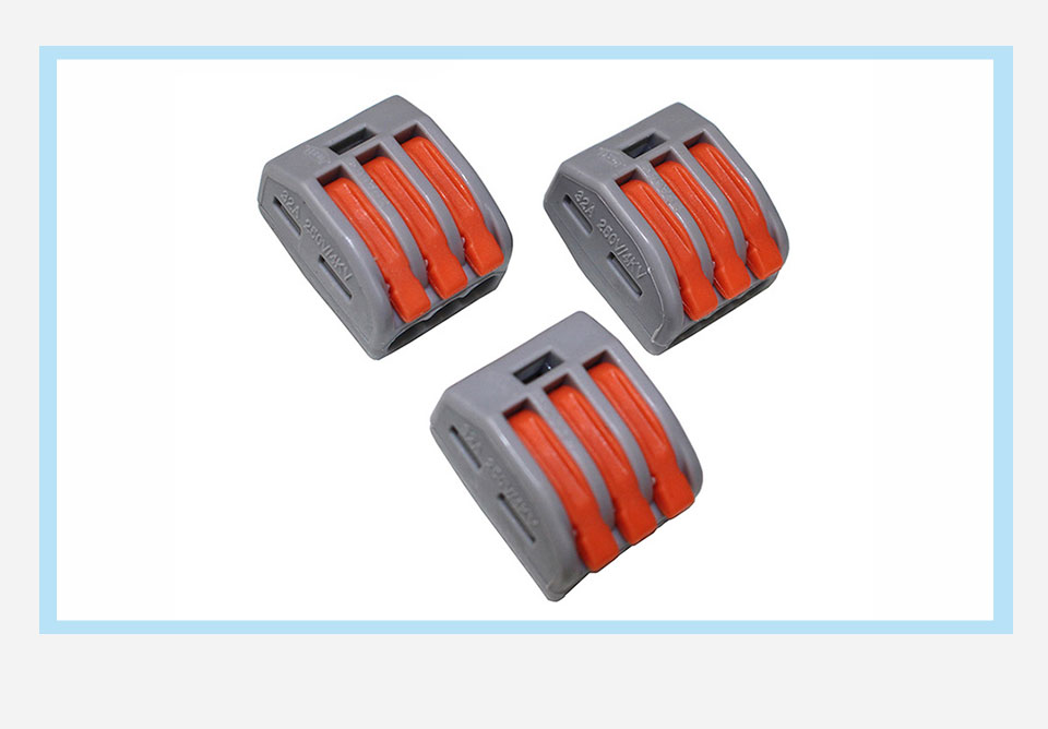 LDDQ 100pcs connector PCT213 Universal Compact Wire Wiring Connector 3 Pin Conductor Terminal Block Cable Connector Gray