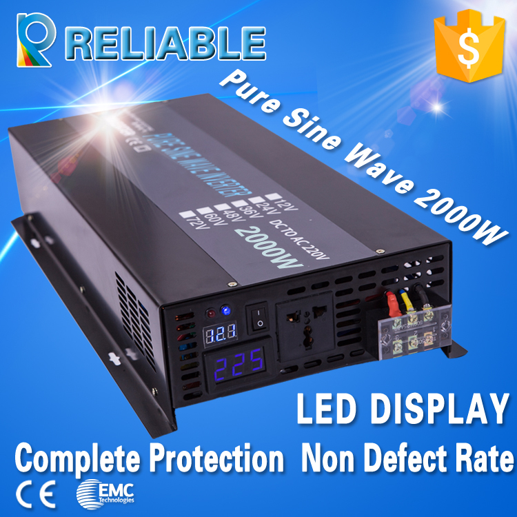 LED display FREE SHIPMENT Solar Inverter 2000Watt / 2000W / 2KW 12/24/48VDC to 110/220VAC Pure Sine Wave Power Inverter(China (Mainland))