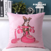 Soft Pink Leather Velvet Cushion Covers With Cute Dog On The Phone For Decorative(China (Mainland))