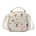 Cute Cartoon Print Women Sweet Casual Round Shoulder Bag Handbag Ladies PU Fashion Casual Cute Crossbody