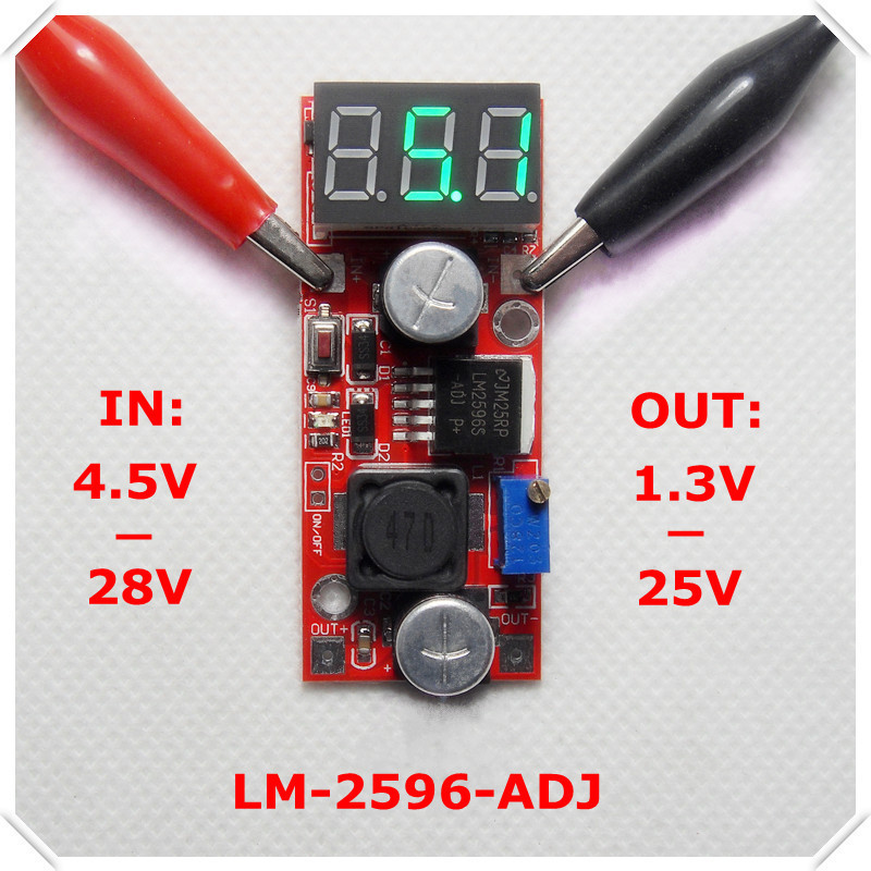 LM2596 DC-DC Adjustable Step-Down Power Supply Module buck converter Green LED Voltmeter display/ Button Switch[5 piece/lot](China (Mainland))