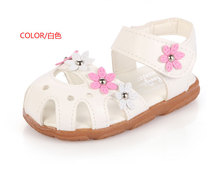 2016 New Arrival Summer Cute Baby Girls Sandals,Embroidered Appliques Zapatos de Nina Baby,Flowers Toddlers Kids Children Shoes(China (Mainland))