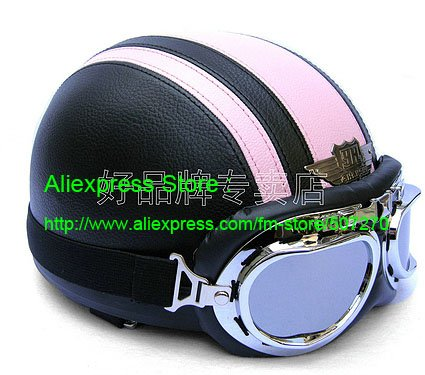 Leather Half Face Casco Motorbike Helm Cycling Motorcycle Half Face Black # Pink Helmet & UV Silver Goggles SIZE M , L , XL(China (Mainland))