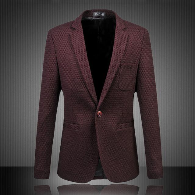 2016 мужчин и куртки пальто мужские свободного покроя мода уменьшают подходящие большого размера с длинными рукавами одной кнопки сплошной цвет блейзер M-6XL