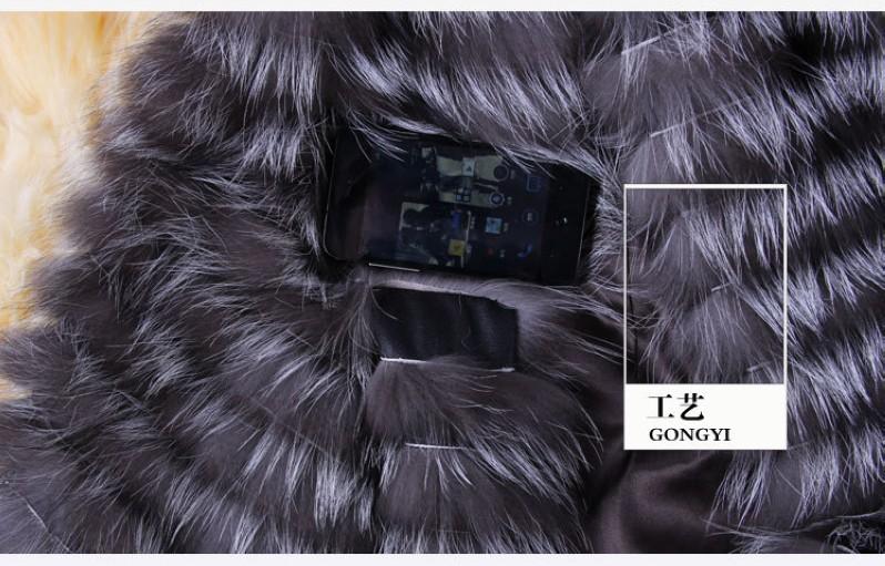 2016 Real Fox Fur Coat 3/4 Sleeve Autumn Winter Genuine Women Fur Trench Outerwear Jacket Lady Long Overcoat  VK3006