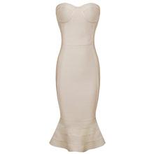 Free Shipping Vestido de Bandagem 2016 New Arrival Nude Strapless Bandage HL Dress with Fluted-Hem(China (Mainland))