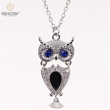 Colorful Sensitive Liquid Crystal pendant necklaces Long Nekclace Collier Femme Owl Necklace Thermo Mood Necklace For Women