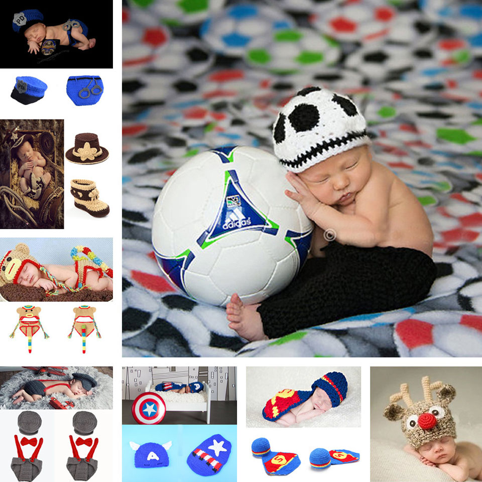 Crochet Baby Boy Football Hat&Shorts Set Baby handmade Costume Newborn Knitted Photo Props Infant Baby Outfits MZS-15046-J(China (Mainland))