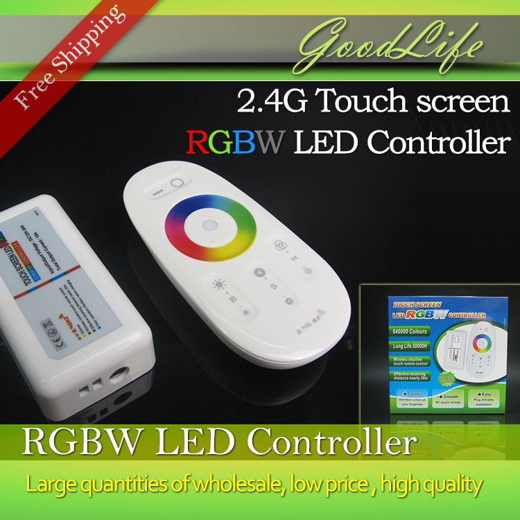 2.4G Wireless Control Touch screen RGBW led controller DC12-24A 18A RF remote control for led strip/bulb/downlight,Free Shipping(China (Mainland))