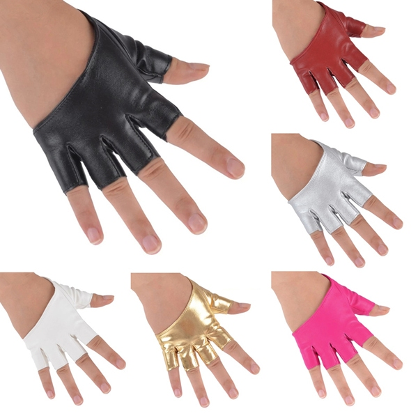 Multi-colors Driving Dance Party Show PU Leather Half palm Half Finger Car Styling Half Finger Gloves Gifts(China (Mainland))