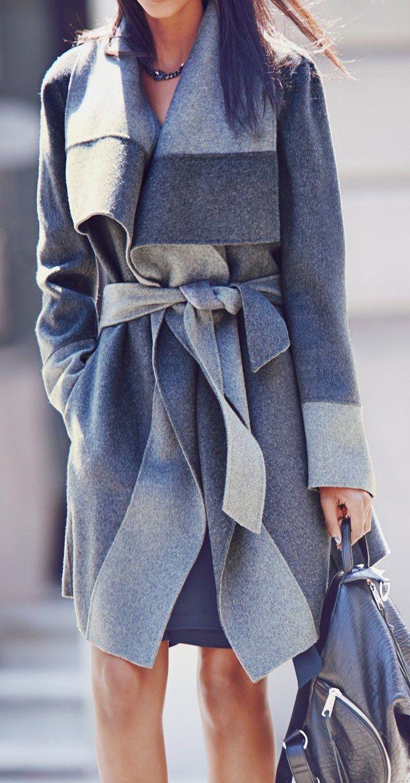 2015 осень зима женщины куртка полный рукав серый свободного покроя casaco feminino тонкий пояс зимнее пальто женщин Большой размер