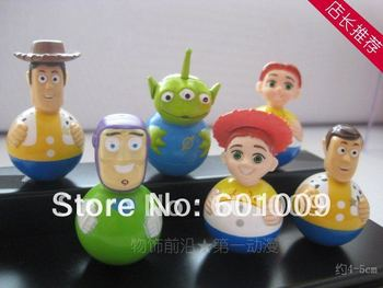 Free shipping High Quality PVC 6pcs Toy Story Woody Buzz Green Man Tumbler Figure Set Wholesale and Retail