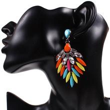 Buy Li&Fang Fashion 2017 brand Gypsy Big Crystal Ethnic Bohemian Drop Earrings Vintage big gem Channel earrings women Jewelry for $1.51 in AliExpress store