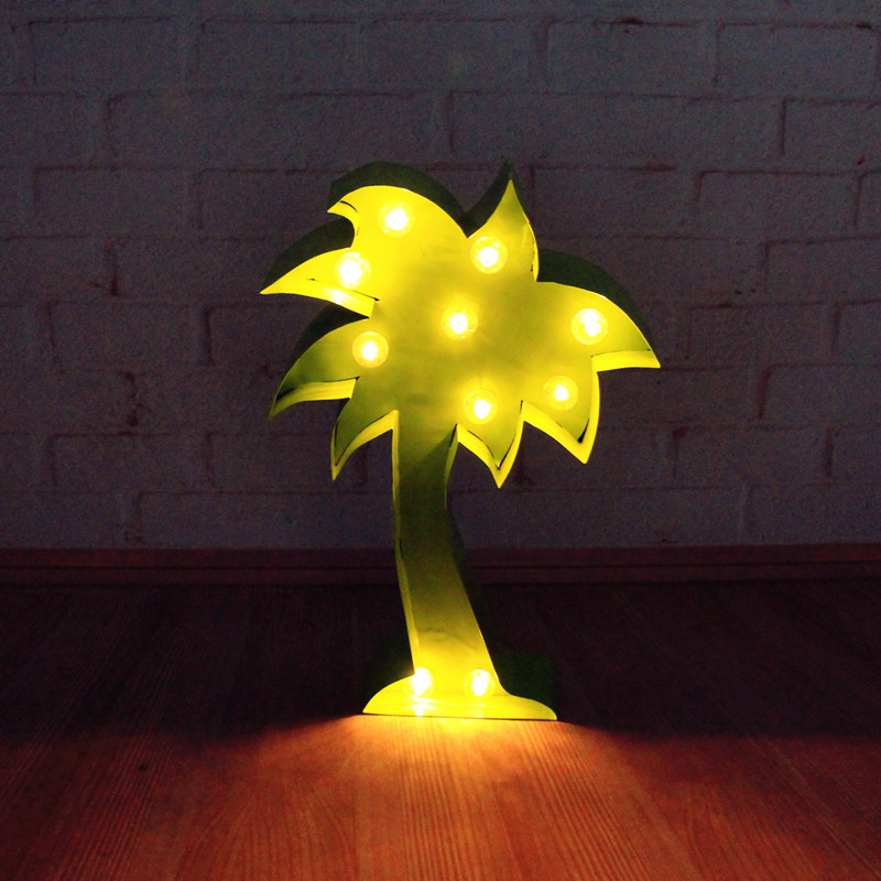 Inch lighted metal coconut palm led tree shape marquee
