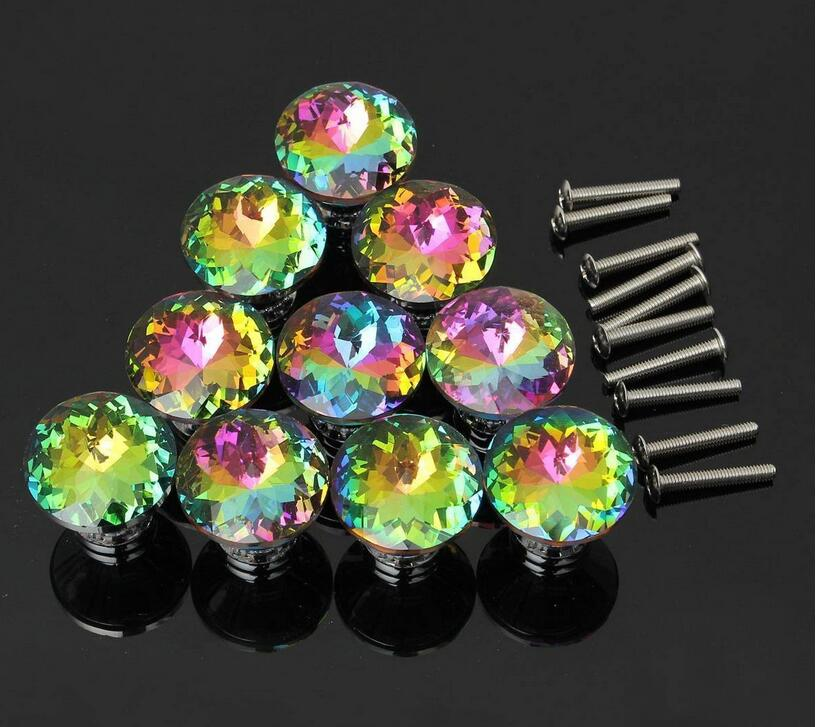 10pcs Door Knobs Crystal Shape Colorful Drawer Cupboard Wardrobe Diamond Glass Alloy Cabinet Furniture Handle Pull 30mm(China (Mainland))