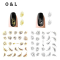 1pcs Hot Feather 3d Water Transfer Nail Stickers Gold Silver Nail Tips Decals Decoration