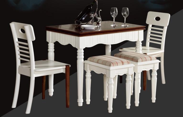 Koop moderne meubels 5 stks eetkamer set uitschuifbare tafel stoel kruk massief - Meubels set woonkamer eetkamer ...