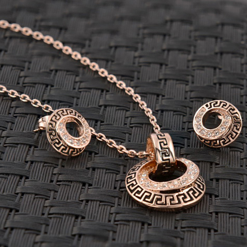 Iutopian Elegant Geometric Style Rose Gold plated Jewelry Set Made High Quality #RG20011