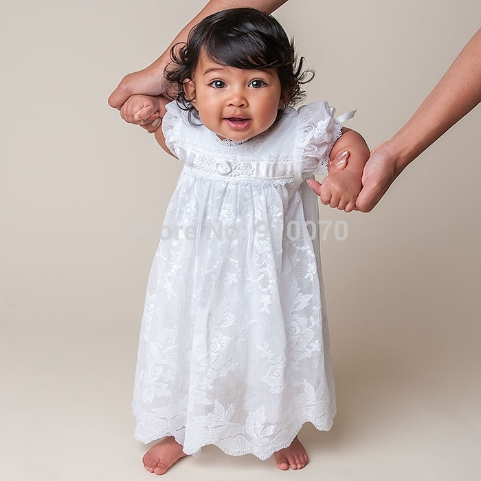 HN-1 2015 Vintage Hot Cheap Imitated Silk Baptism Baby Girls Dresses For Wedding/Cut Lace With Cap Long Infant Christening Gown(China (Mainland))