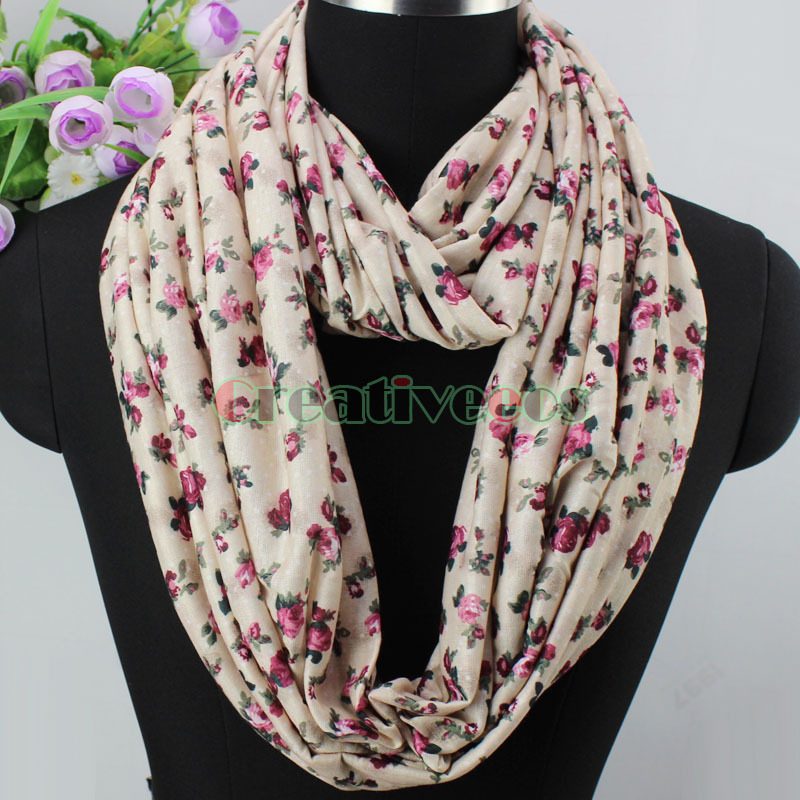 Fashion Vintage Beautiful Floral Print Infinity 2 Loop Soft Comfy Cotton 2 Layer Scarf Wrap New