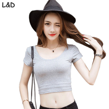 Buy 2017 Summer Casual Cotton T Shirt Women U-neck Crop Tops Solid Tshirt Tee White Black Gray Slim Tops Female Plus Size for $6.92 in AliExpress store