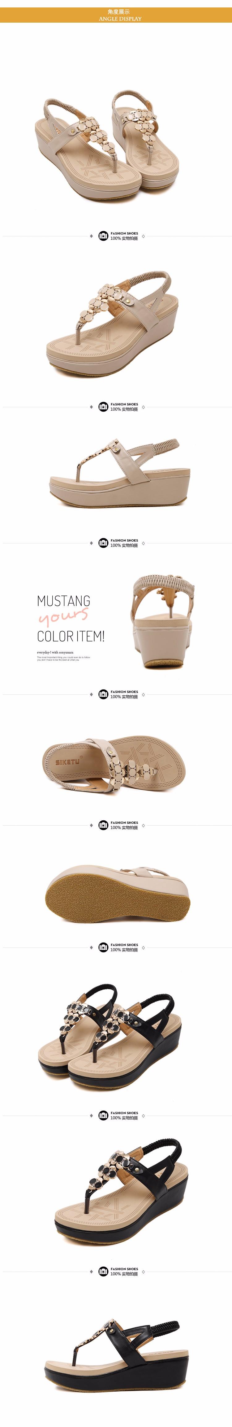 New 2016 Women sandal women summer wedge shoes woman sandalias platform sandals Thong Beaded Black sandal