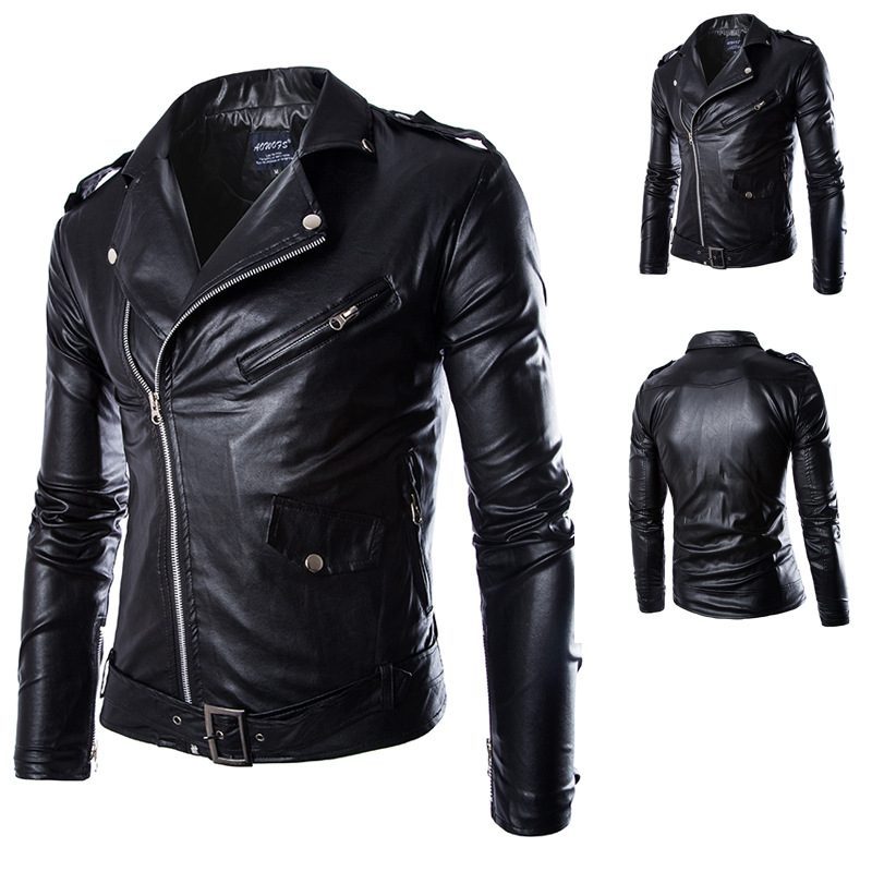 Locomotive jacket for men male Leather Jacket mens leather thin fit jackets and coats Casual Wear Top quality PU leather(China (Mainland))