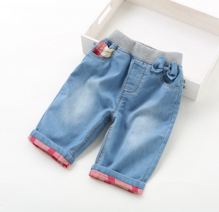 2016 New Childrens baby turned edge Denim Middle pants soft washed Girls denim jeans children 7 minutes pants wholesale<br><br>Aliexpress