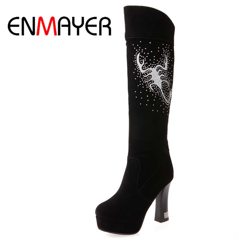 ENMAYER New Arrival Fashion Boots Sexy Shoes High Heels Knee High Boots Flock Women Snow Winter Long round toe Motorcycle Boots<br><br>Aliexpress