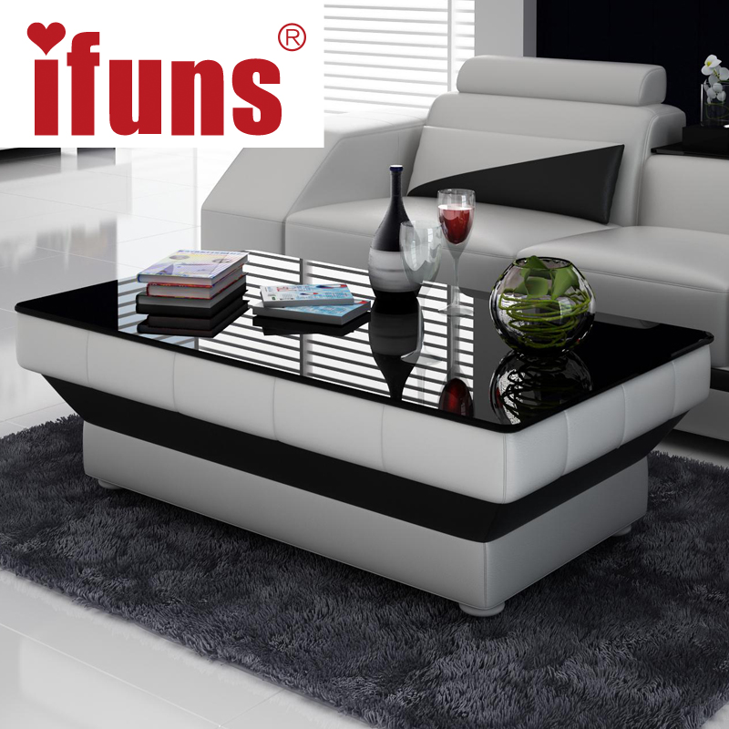 IFUNS new design special coffee table tea for living room furniture leather & glass panel wooden leg black brown white 5 color(China (Mainland))