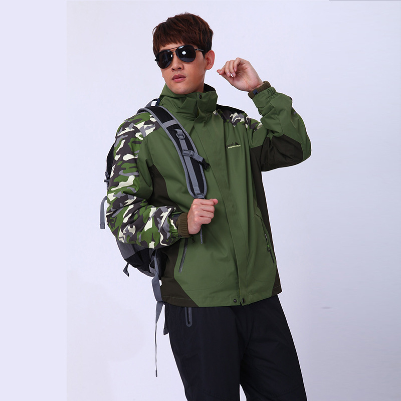 SC8 Ao Dengka triple Jackets outdoor climbing couple paragraph piece camouflage hooded jacket windproof<br><br>Aliexpress