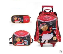 Girl's Travel luggage Trolley School Bag with wheel Kids Rolling Bag on wheel Dora Children trolley School Backpack Set for girl(China (Mainland))