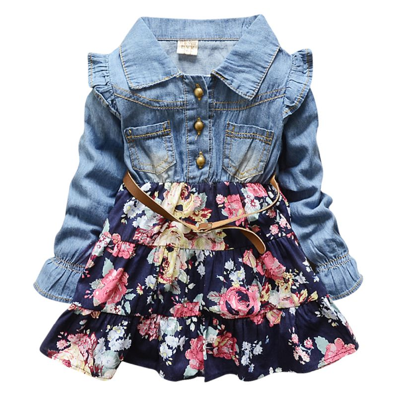 Kids Girls Princess Demin Belt Flower Dresses Party Tutu Dress One-pie Baby Clothes Free Shipping<br><br>Aliexpress