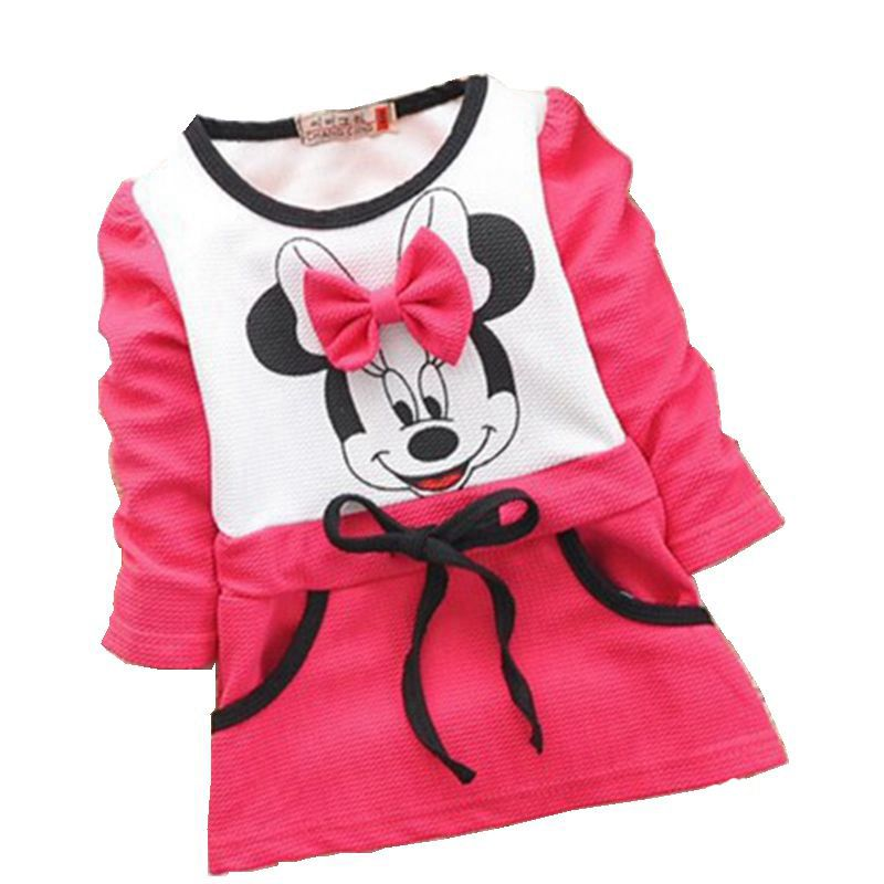 2016 Autumn girls dress girls Minnie Mouse New Kids bottoming shirt long sleeve t-shirt 2-5years rose red baby clothes(China (Mainland))