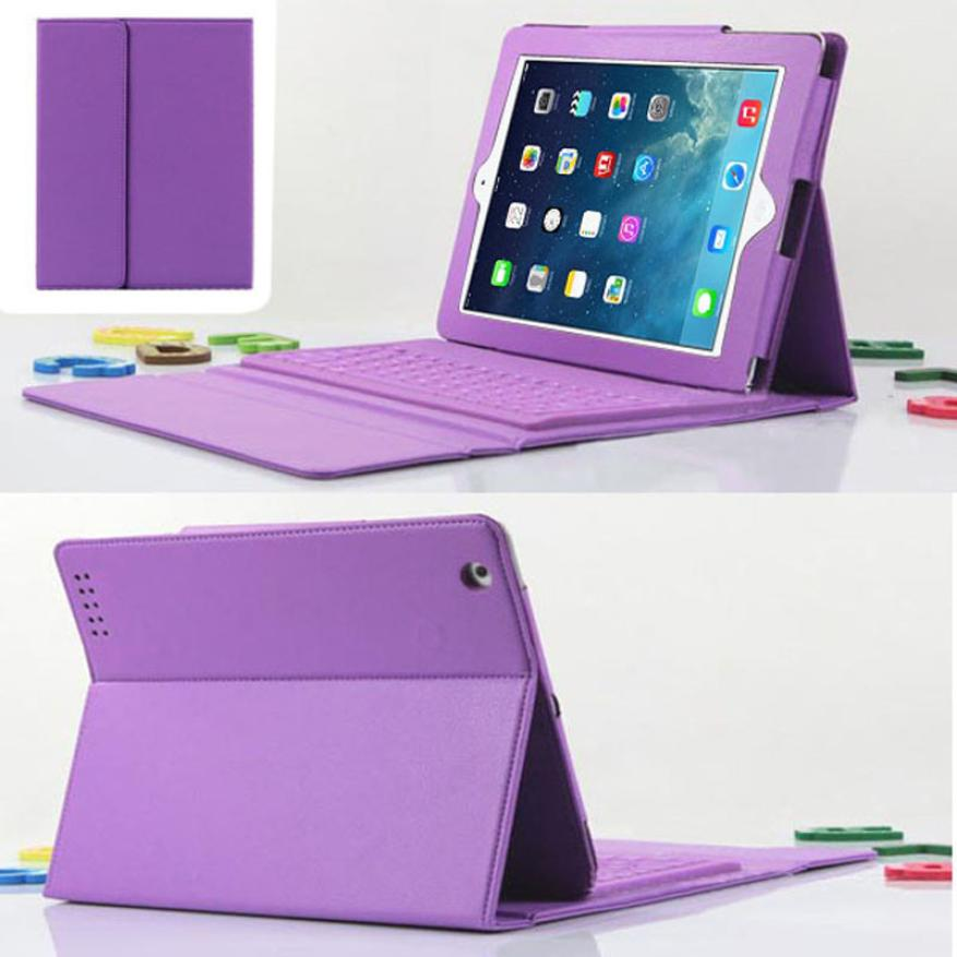 Adroit Purple High Quality For iPad 2 3 4 Bluetooth Silicone Keyboard Stand Faux Leather Case Cover JAN1(China (Mainland))