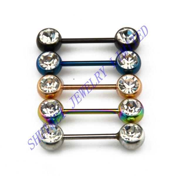 Здесь можно купить  50Pcs Barbelli TItanium Plated Clear CZ Crystal Stainless Steel Nipple Shield Ring Cover Piercing Jewelry Body Free Shipping  Ювелирные изделия и часы
