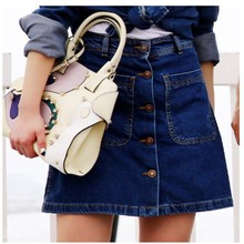 1507 women's New design fashion style skirts high waist slim single-breasted denim skirt More than a pocket casual cool skirt