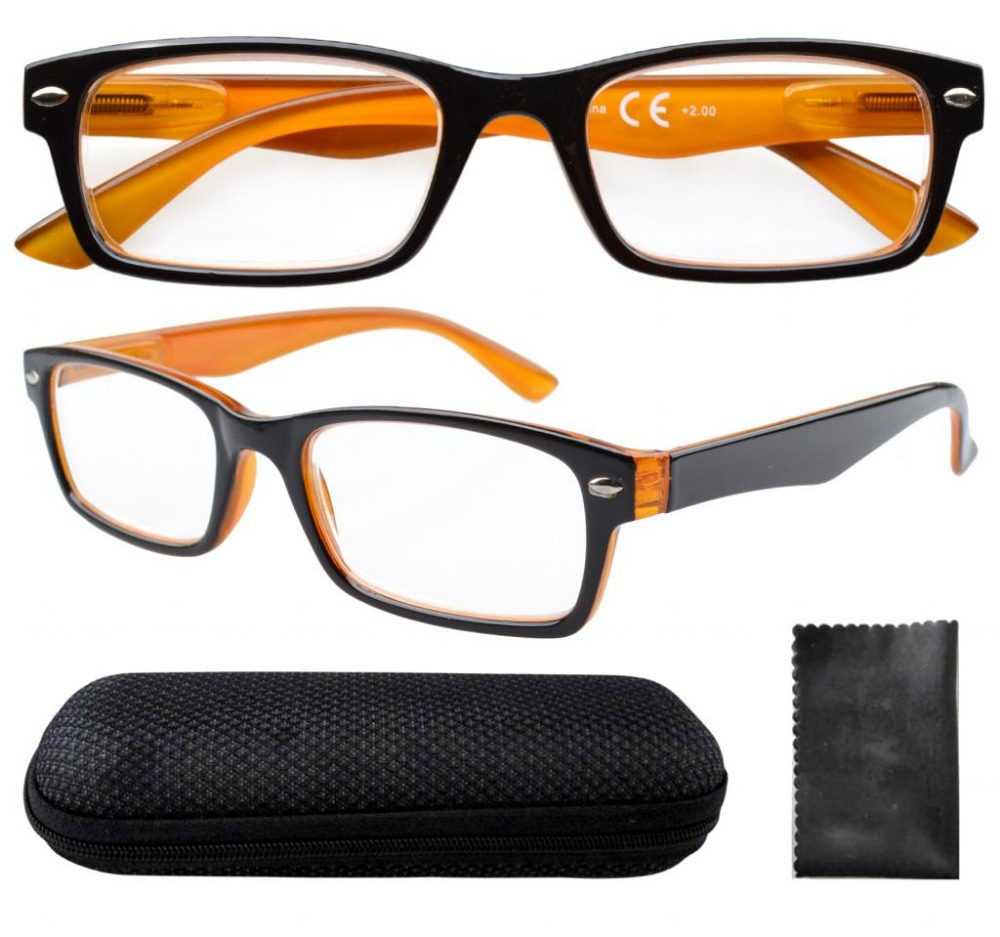 R055 Spring Hinges Black Yellow Reading Glasses W case 0 0 0 5 0 75 1