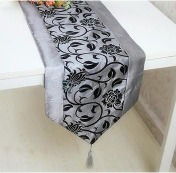 Whoelsale silver and black  table runner 33*200 cm grey table runner/bed runner zara women free shipping