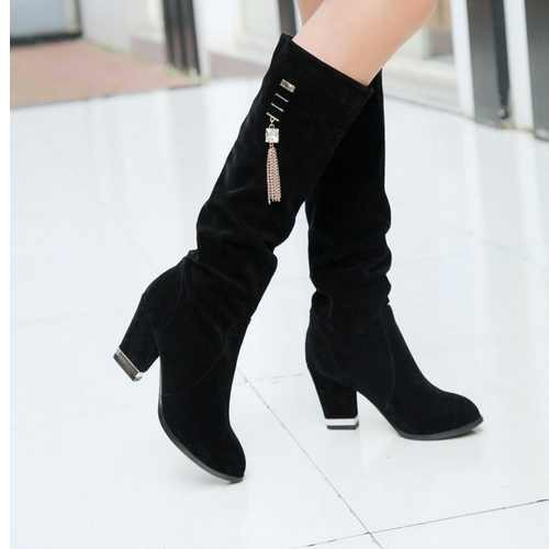 Factory Discount Comfortable Women Round Toe Square Heel Knee High