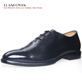 Luxury Brand ELANROMAN Mens Shoes Spring Autumn Casual Business Style Mens Black Cow Leather Black Oxfords