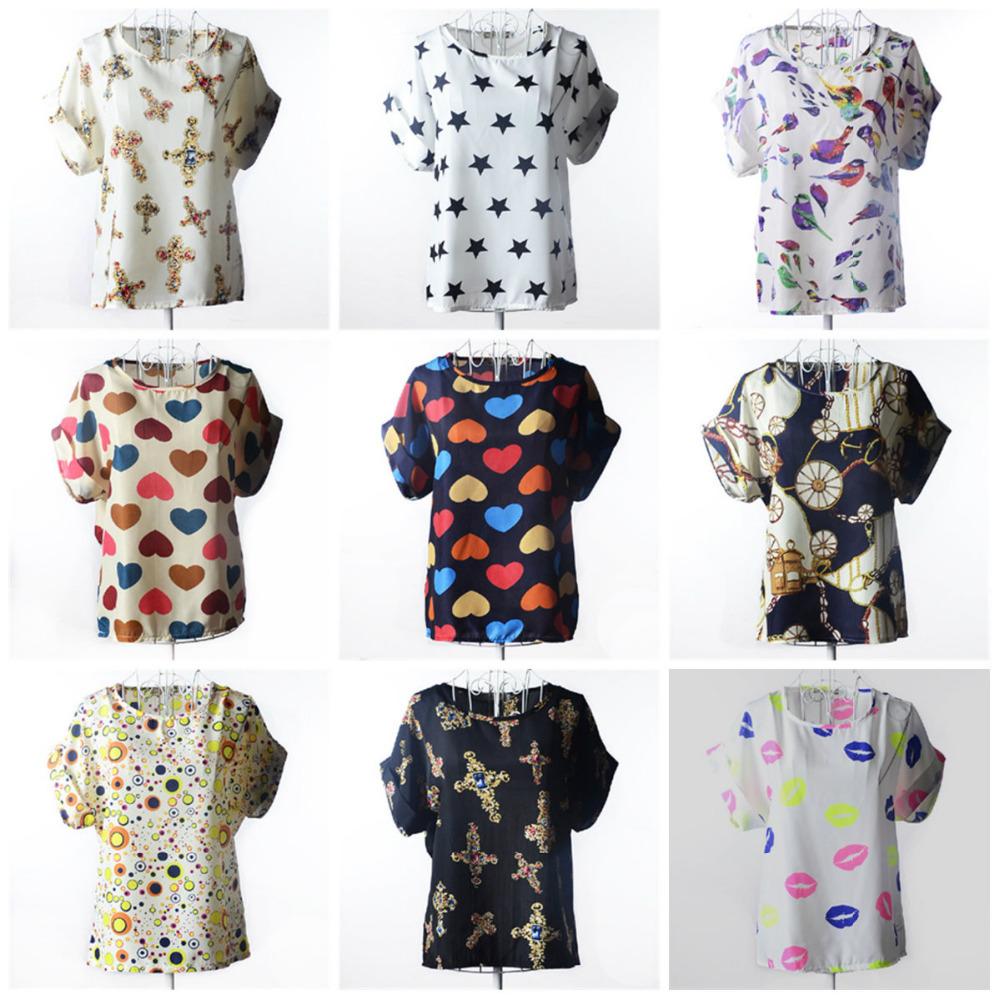 Plus Size New Fashion 2014 Summer Women Print Chiffon Shirt Vintage Birds and19 Styles Batwing Sleeve T Shirts Tops(China (Mainland))