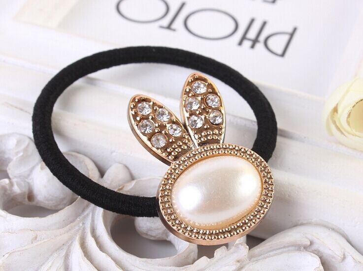 10pcs/lot Korean style rhinestone hair accessories black tie rabbit ears heart flower elastic hair bands w2028(China (Mainland))